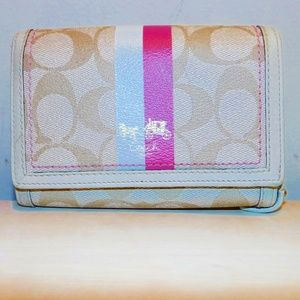 Coach Signature pink Heritage bifold wallet
